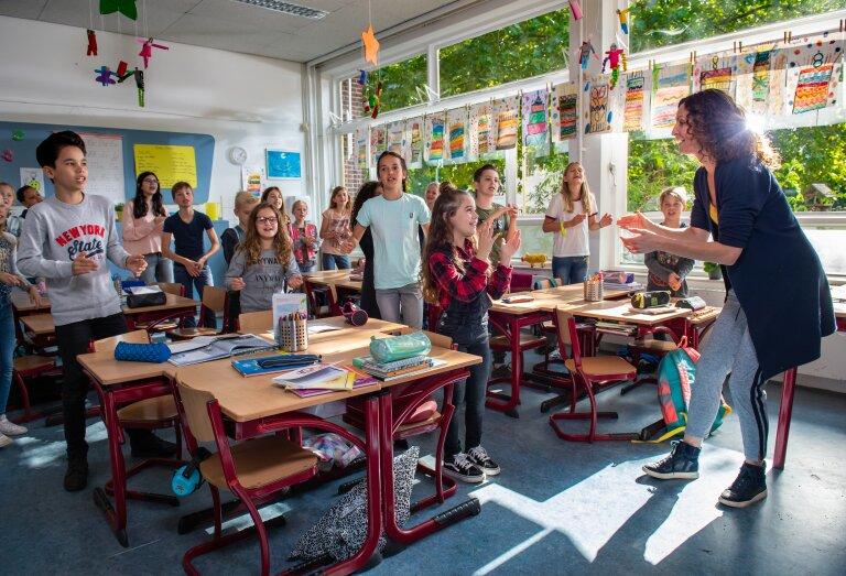 Klassenfoto van stichting Méér Muziek in de Klas