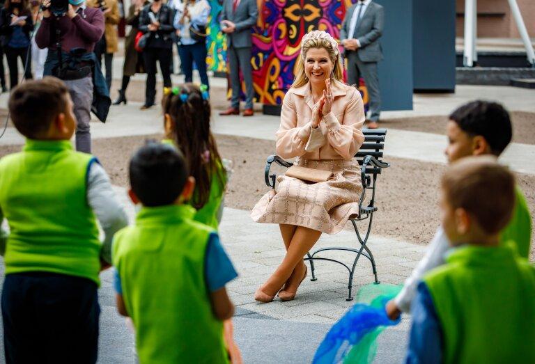 Koningin Máxima bezocht vandaag als erevoorzitter van stichting Méér Muziek in de Klas Keukenhof in Lisse