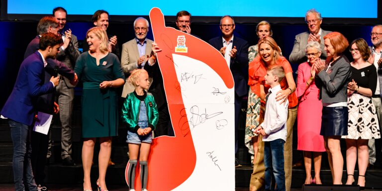 Koningin Máxima bij de ondertekening van MuziekAkkoord Drenthe